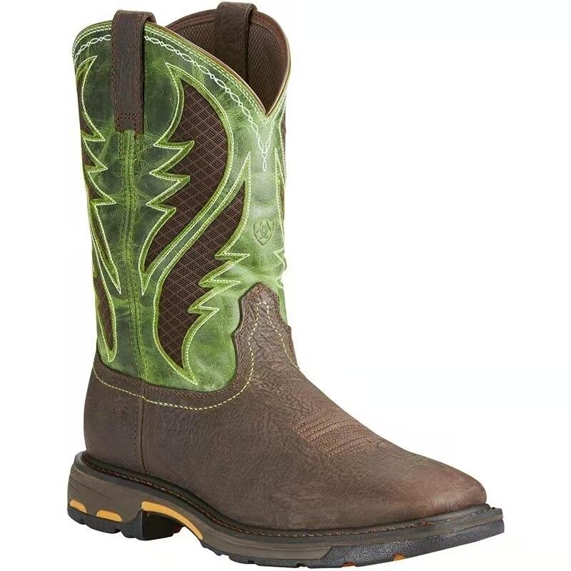 Vente chaude hommes bottes en cuir Pu Slip-on bottes De Cowboy décontracté hiver mode Style bottes occidentales Zapatos De Hombre AG002