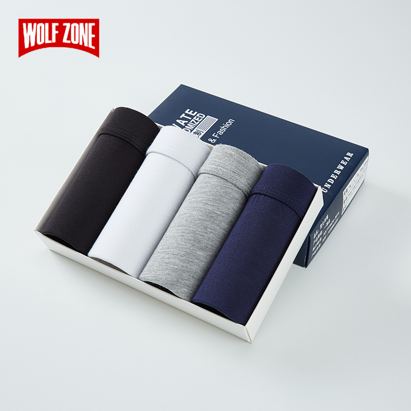 Mens Panties Breathable Skin-friendly Underpants Man Gift Box Men Underwear Modal Solid Sexy Shorts Boxers Men 4 Piece Set