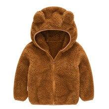 Детская зимняя одежда для малышей милая куртка на молнии с длинными рукавами и ушками для девочки мальчики плотное хлопковое пальто с капюшоном теплая верхняя одежда