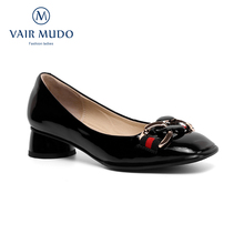 Pumps-Shoes Vair Mudo Round-Toe High-Heels Black Women Patent Basic D137L Red Lady New
