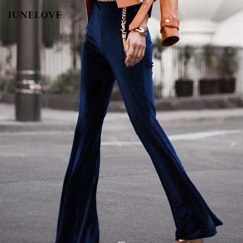 Junelove 2020 moda veludo calças femininas outono inverno magro flare calças de cintura alta calças estilo rua calças calças calças