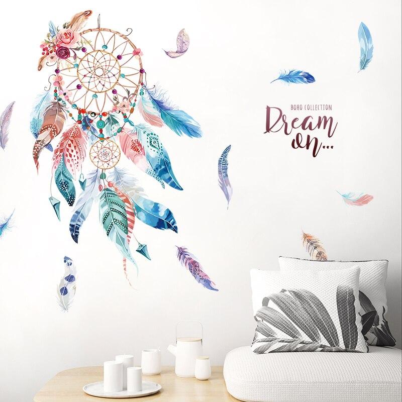 [SHIJUEHEZI] autocollants muraux de plumes de capteur de rêves bricolage autocollants muraux de dessin animé pour les chambres d'enfants décoration de dortoir de chambre de bébé