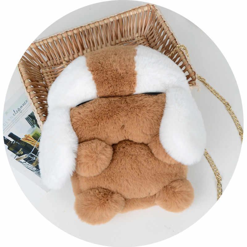 Nuova Borsa Imitazione Sacchetto Della Pelliccia Del Coniglio Del Rex Meng Meng Cucciolo sacchetto del Messaggero Del Sacchetto di Personalità di Modo di Scelta Su Il Party Selvaggio