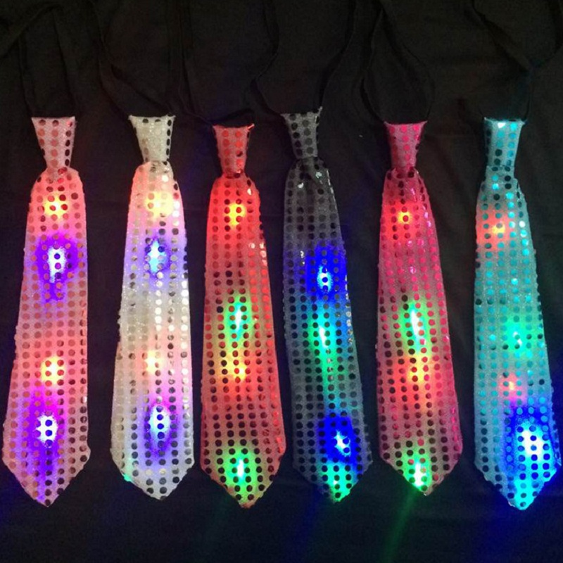 Mens Ties Boys Bowtie LED Flashing Light Up Sequin Necktie Christmas Party Club Bar Women Bow Tie Wedding Gift