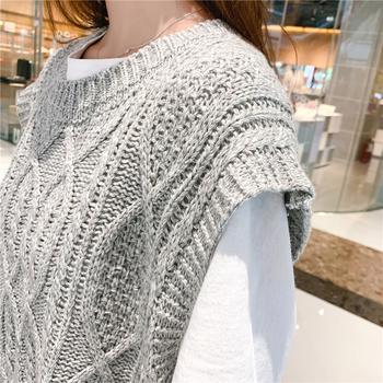 O-neck Long Knitted Women's Sweater Sleeveless Jacket Winter Warm Female Vest Korean Ruffle  For Women Fashion Loose Waistcoat 8