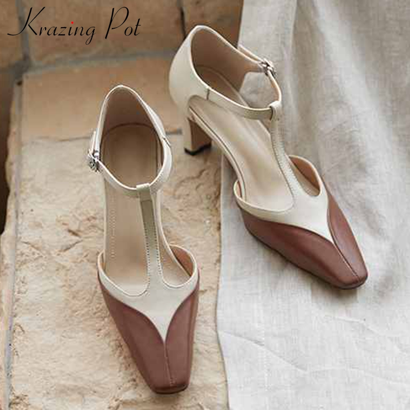 Krazing Pot New French Genuine Leather Mixed Colors Mary Janes Shoes Square Toe High Heels Women Fashion Buckle Straps Pumps L18