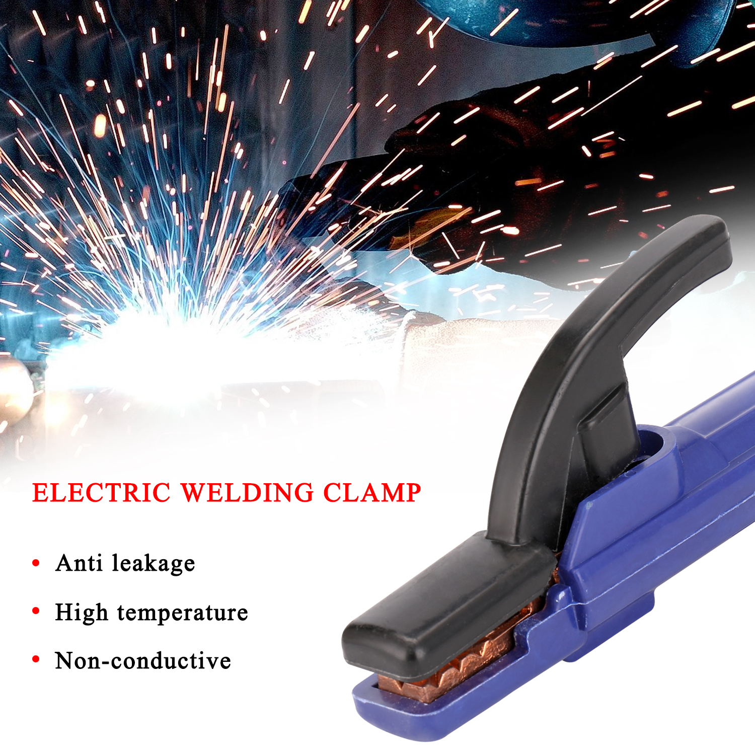Practical Heat Resistant DC 300A Electric Welding Clamp Fit for Steel Structure Ship Factory Mining Electric Soldering Tool
