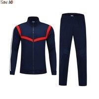 HOWE AO Sports Suit Men Tracksuit Running Jackets Pants Football Training Wear Full Zipper Coat Autumn Winter Soccer Uniform