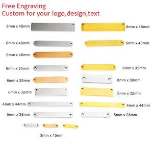 Image 2 - Mylongingcharm livre gravura 30 peças de aço inoxidável retângulo barra conectores logotipo personalizado ou design retângulo colar pingente
