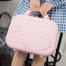 Hot fashion abs waterproof cute cartoon cat cosmetic case 14 inch suitcase small travel handcuffs