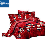 red mickey minnie mouse bedding sets DISNEY cartoon bedspread cotton bed duvet covers Children's Girls bedroom decor Queen King