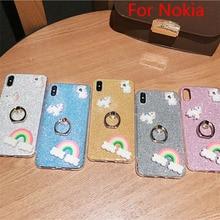for nokia 7 Plus Glitter Cases For Nokia  6.1 7.1 4.2 8.1 Plus X7 X6 X71 7 6 1 Plus 2018 9 3D Rainbow Finger Ring TPU Case Cover x7 plus
