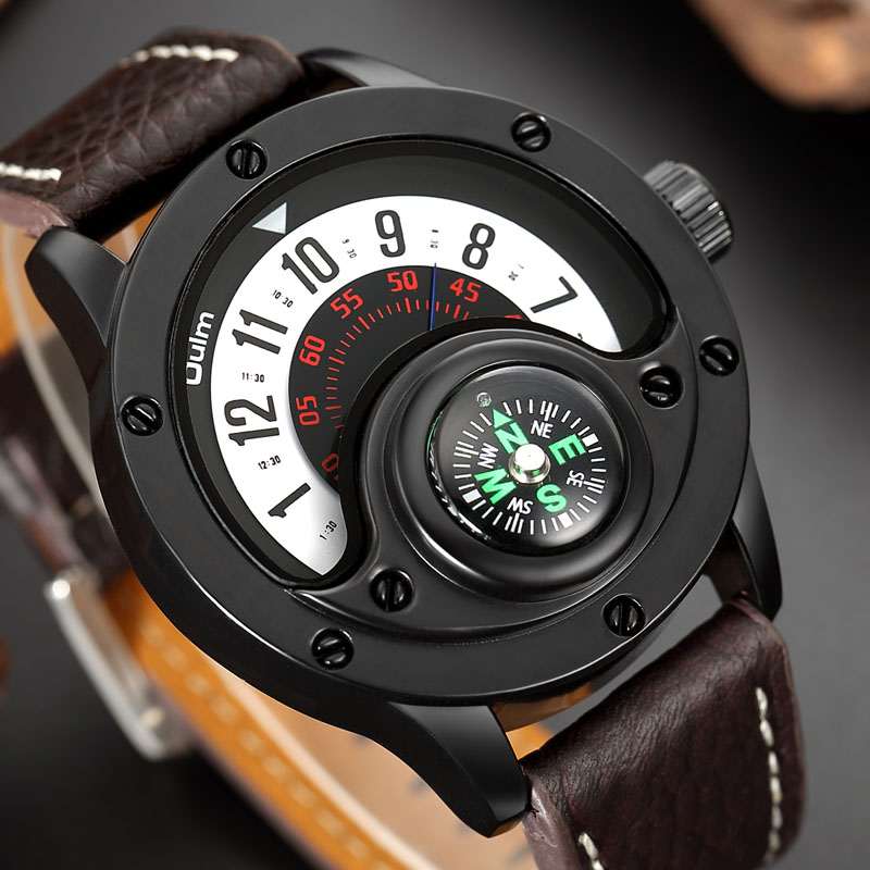 Man Watch 2019 Oulm Fashion Creative Watches Men Military Army Sports Watches Leather Band Quartz Wristwatch relogio masculino