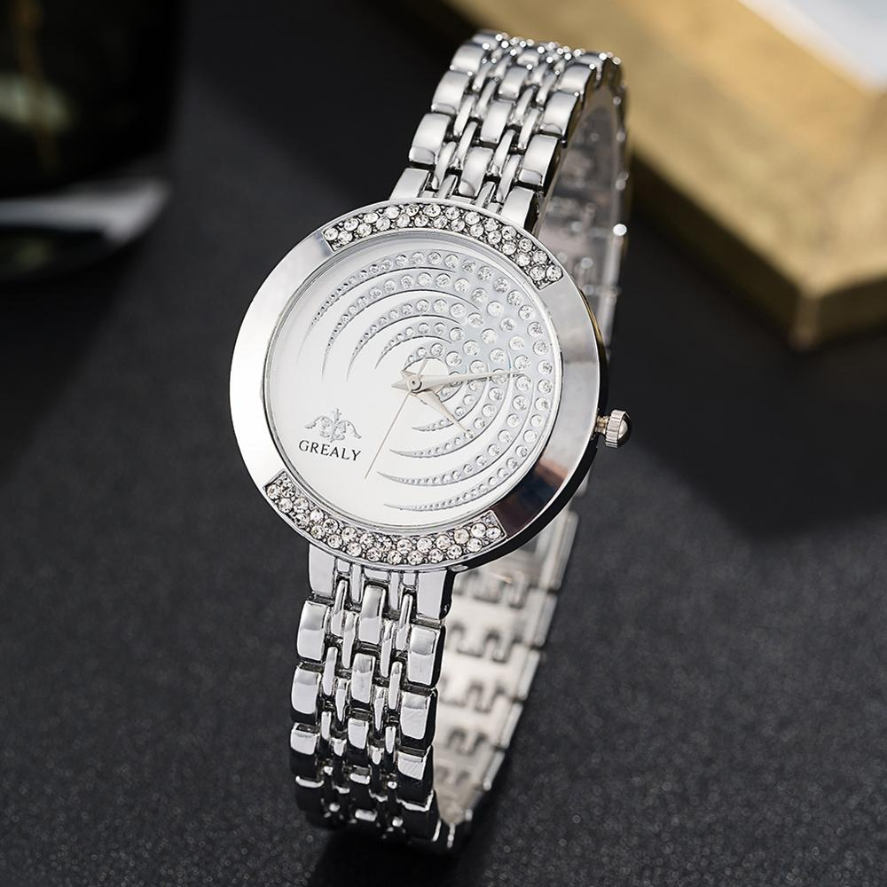 2019 Ladies Wrist Watches Dress Gold Watch Women Rhinestone Watches Stainless Steel Silver Clock Women Montre Femme AW203