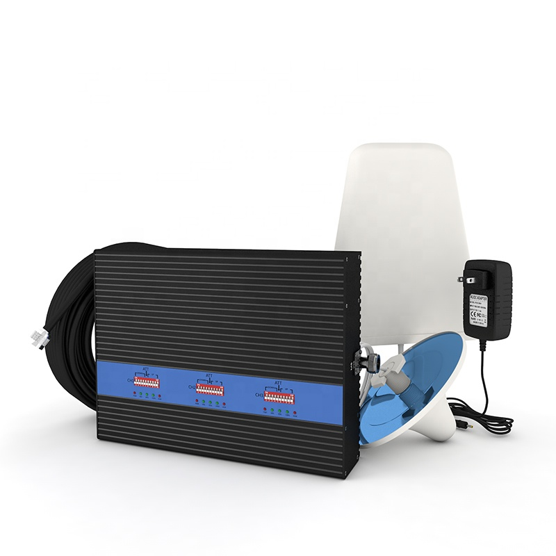 900 1800 2100 mhz <font><b>2g</b></font> <font><b>3g</b></font> <font><b>4g</b></font> Signal Booster Tri-band <font><b>75dB</b></font> 25dBm Home Amplifier Cell Phone <font><b>Gsm</b></font> Repeater Booster With LCD Display image