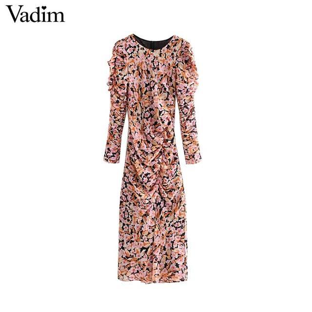 Vadim kadınlar zarif çiçek şifon maxi elbise ruffles O boyun uzun kollu geri fermuar ince fit kadın ayak bileği uzunluk elbise QC823
