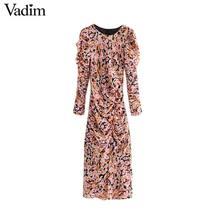 Vadim 여성 우아한 꽃 쉬폰 맥시 드레스 주름 장식 긴 소매 뒤 지퍼 슬림 맞는 여성 발목 길이 드레스 qc823
