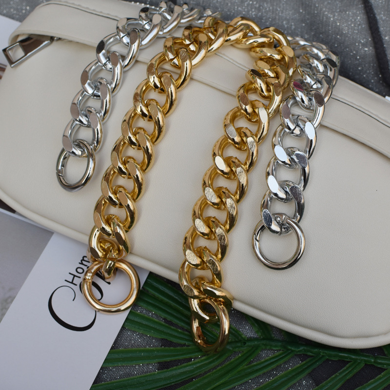 New Women Chic Handbag Strap Cross Body Shoulder Bag Belt Luxury Stylish Matching Bag Stripe Gold Silver Chain Ring Bag Strap