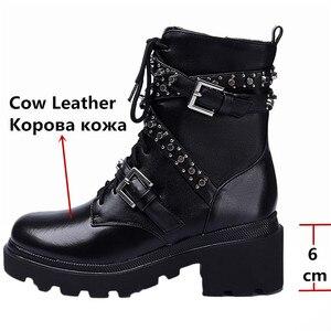 Image 3 - FEDONAS Sonbahar Kış Perçinler Hakiki Deri Kadın yarım çizmeler Punk Motosiklet Botları parti ayakkabıları Kadın Toka Kadın kısa çizmeler