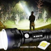 Linterna LED de gran potencia con CREE L2 XHP70, resistente al agua, recargable vía USB, ultrabrillante, para acampar y cazar