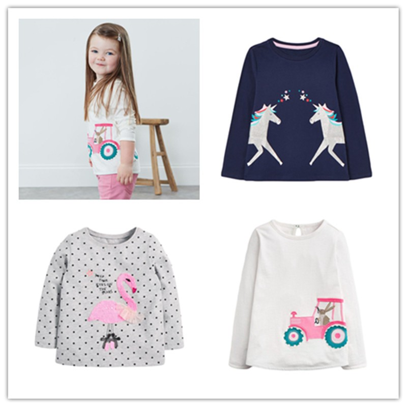 VIDMID Baby Girls Long Sleeve Casual T-shirts Kids Cotton Floral Cartoon Clothes Tops Children Girls T-shirts Tees Kids Baby Top 1