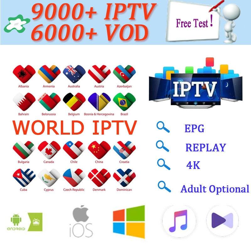 1 an 9000 + Live Europe IPTV français espagne néerlandais arabe Portugal UK IPTV abonnement gratuit Test sport android TV box smart TV PC