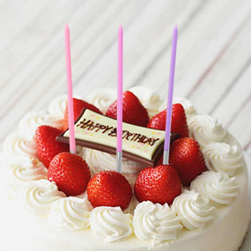 10 ชิ้น/ล็อตยาวดินสอเค้กเทียนปลอดภัยเปลวไฟไร้ควันเด็กวันเกิดงานแต่งงานเค้กเทียนตกแต่งบ้านโปรดปรานอุปกรณ์