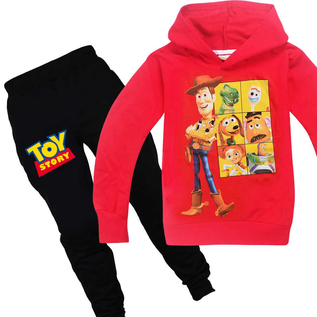 Crianças outono inverno brinquedo história 4 roupas amadeiradas conjunto para meninos 100% algodão manga longa dos desenhos animados com capuz jaqueta + calças agasalho outfits