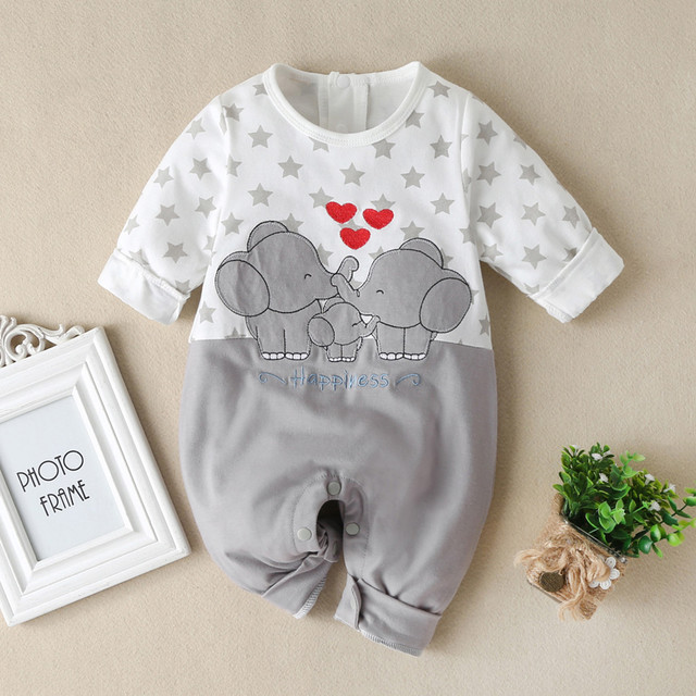 Baby Boys Girls Long Sleeve Cartoon Star Print Romper Infant Kawaii Elephant Pattern Jumpsuit Newborn Toddler Keep Warm Clothes 1