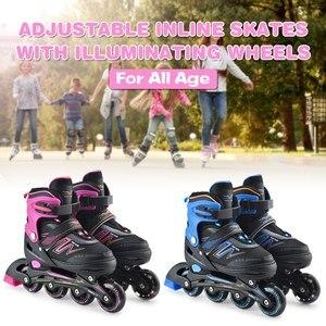Роликовые коньки с регулируемыми роликами с освещающими колесами, наружные роликовые коньки для детей, регулируемые роликовые коньки
