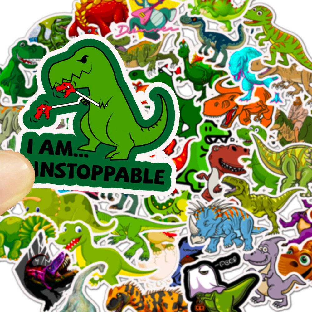 50 Pcs Cute Dinosaur Stickers for Children Travel DIY Stickers for Car Motorcycle Luggage Laptop Bike Sliding Plate