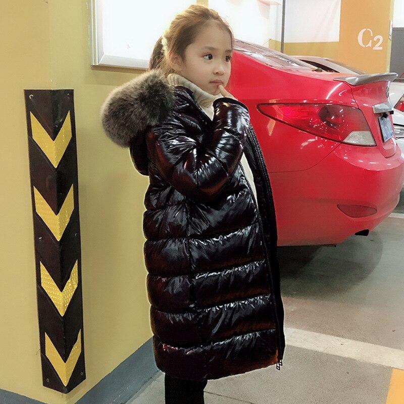 Зимнее Сверкающее длинное пуховое пальто с капюшоном из натурального меха для маленьких мальчиков и девочек ростом 85-150 см верхняя одежда