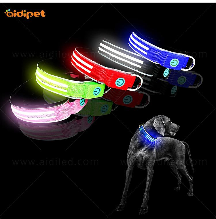 Pet Supplies LED Luminous Collar USB Charging Medium Large Dog Nylon Thick And Pull Resistance Dual Fiber Dog Neck Ring
