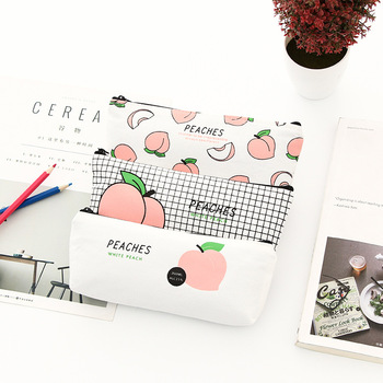 1 Pcs Japanese Cute Fun Letters Peach Student Pencil Case Small Fresh and Childlike Cotton Pencil Bag Stationery Box Female image