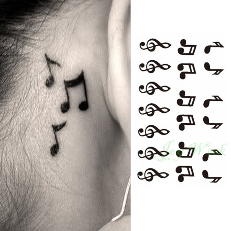 24 Waterproof Temporary Tattoo Sticker On Ear Finger Music Note Bird Stars Line Streak Henna Tatto Flash Tatoo Fake For Women