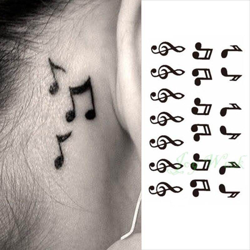 24 Waterproof Temporary Tattoo Sticker On Ear Finger Music Note Bird Stars Line Streak Henna Tatto Flash Tatoo Fake For Women