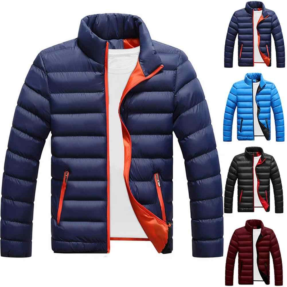 Kış ceket erkekler yeni 2019 pamuk astar kalın ceket parka gömme uzun kollu kapitone giyim giyim sıcak tutan kaban