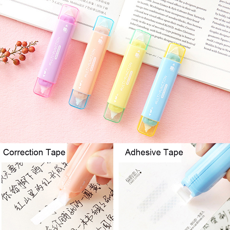 Two In One Mini Double Head Correction Tape Adhesive Tape Punctiform Adhesive Glue Learning Stationery Kawaii Correction Tape