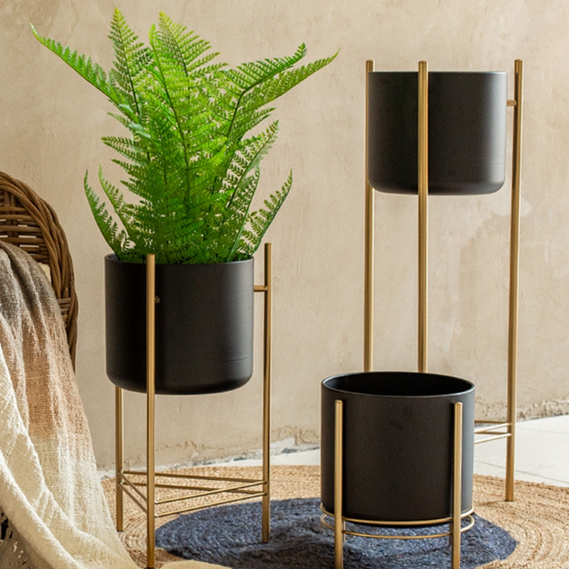 Simple Creative Wrought Iron Flower Pot Stand Vase Balcony Living Room Interior Nordic Home Yard Balcony Decoration Ornaments