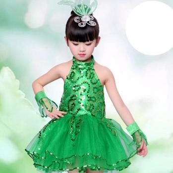 Jazz Dance Costumes Children Performance Dance Performance Girls Princess Skirt Green Sequins Jazz Dance Dress цена 2017