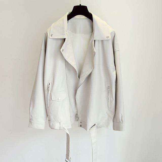 Fitaylor New Spring Women Loose Pu Faux Leather Jacket with Belt Streetwear Moto Biker Black Coat BF Style Oversized Outwear 6