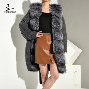 FURSARCAR 2020 New Real Fur Coat Grey Sweater With Large Silver Fox Autumn Winter Fashion Jacket Genuine Long Cardigan