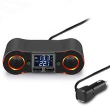 3.5a 듀얼 usb 차량용 충전기 powstro 담배 라이터 소켓 led 디스플레이 충전기 아이폰 xiaomi 자동차 분배기 전원 어댑터