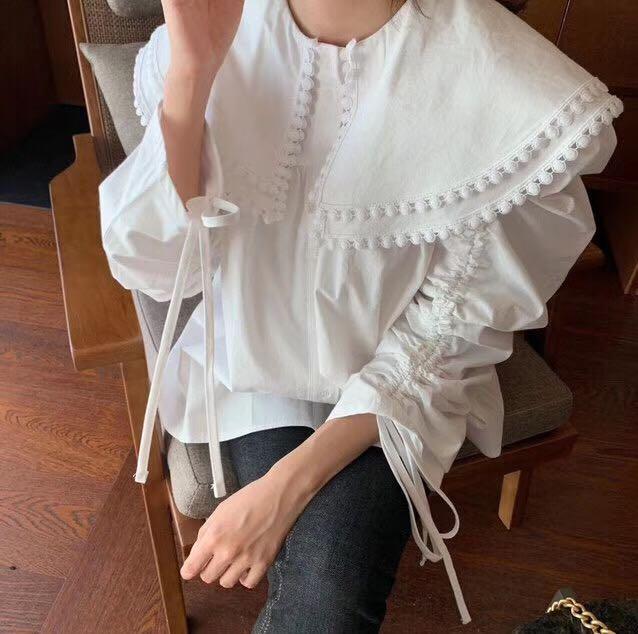 Hb48255f549144f8fa4b60514b6674904y - Spring / Autumn Pilgrim Collar Long Sleeves Thicken Drawstrings Loose Blouse
