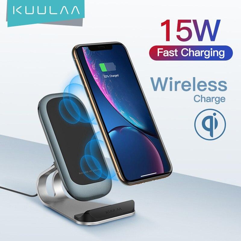 Bezprzewodowa ładowarka KUULAA Qi 15W dla iPhone 12 11 pro Samsung S9 Xiaomi szybka bezprzewodowa stacja dokująca do ładowania ładowarka do telefonu
