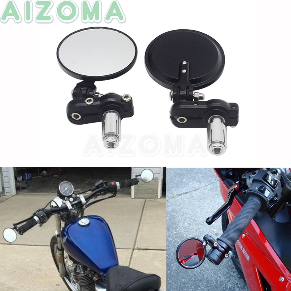 <font><b>3</b></font> inch Motorcycle Round Folding Mirrors <font><b>7</b></font>/8'' 22mm Handle Bar End Rearview Side Mirror Universal for Cafe Racer BOBBER Cruisers image