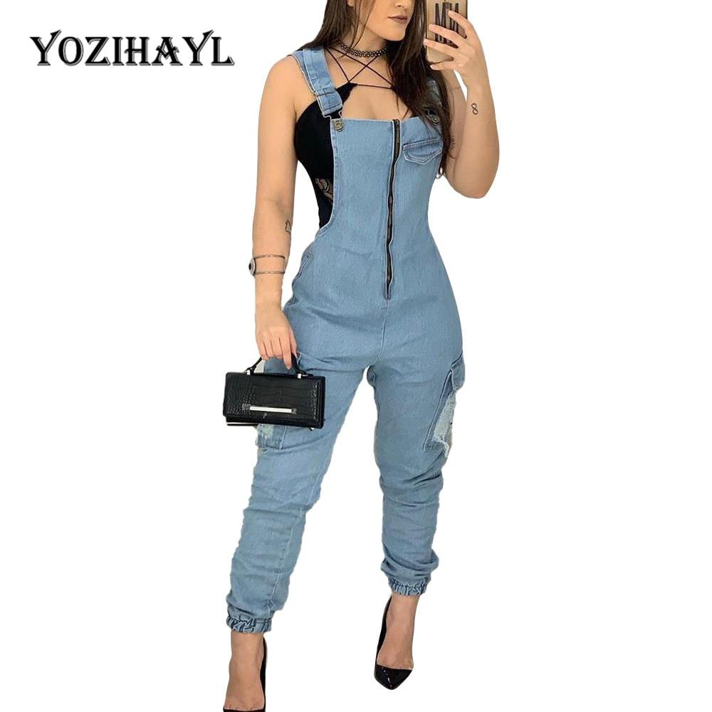 Women Demin Straps Trousers Jumpsuit Casual Slim Button Jeans Pants Zipper Bodysuit Jumpsuits