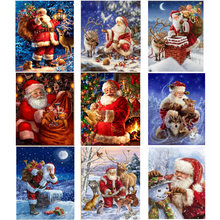 Алмазная живопись «сделай сам», мозаика Санта-Клауса, снеговик, круглые алмазы ручной работы, вышивка крестиком, мозаика, декоративная детс...