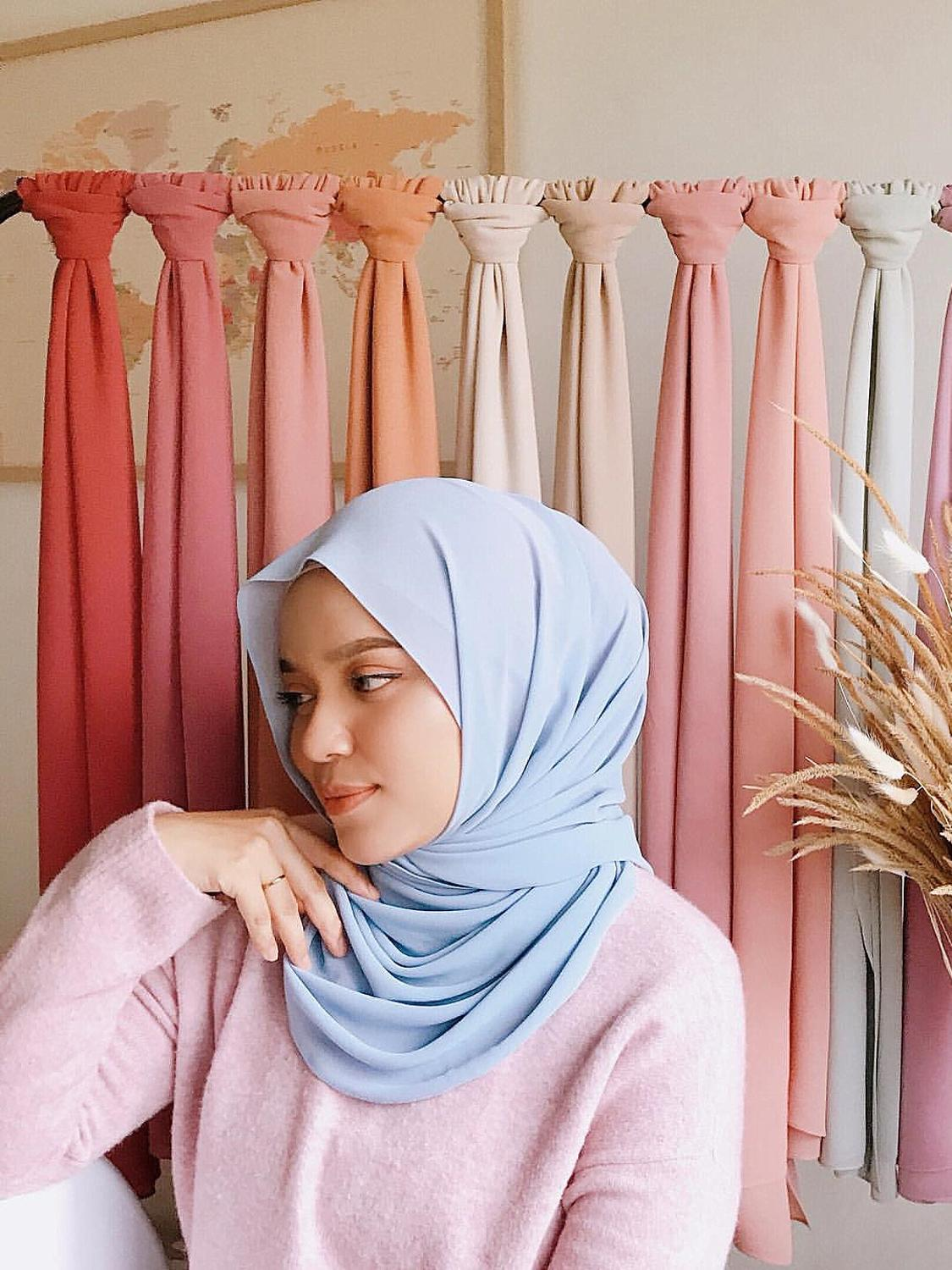 Scarves Shawl Wraps Muslim-Hijabs Pearl Arab Wome's Modest Chiffon Long Malaysian Solid-Color