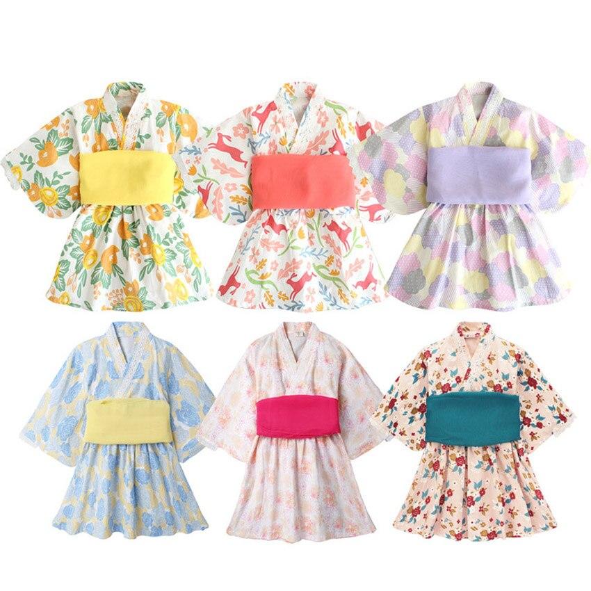 Baby Girl Rompers Japanese Style Kawaii Girls Floral Print Kimono Dress For Kids Costume Infant Yukata Asian Clothes